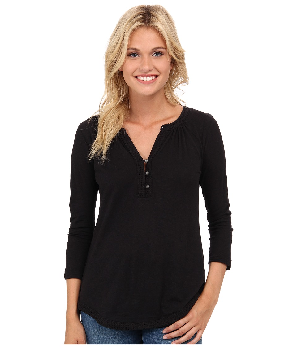 Lucky Brand - Mixed Trim Top (Lucky Black) Women's Clothing