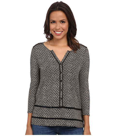 Lucky Brand - Blanket Diamond Top (Black Multi) Women's Clothing