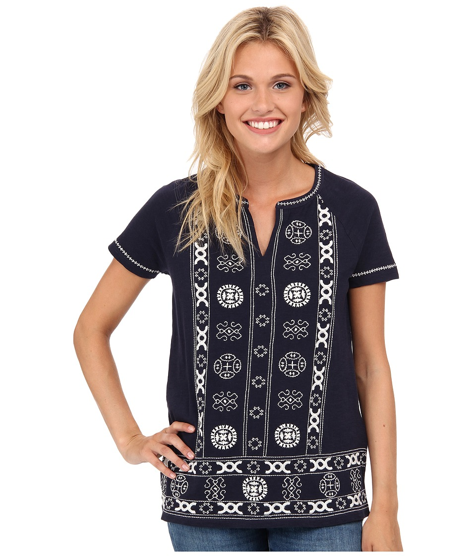 Lucky Brand - Circle Embroidery Top (American Navy) Women's Blouse