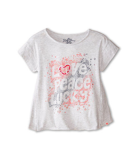 Lucky Brand Kids - Love Peace Lucky Tee (Big Kids) (Light Heather Gray) Girl's T Shirt
