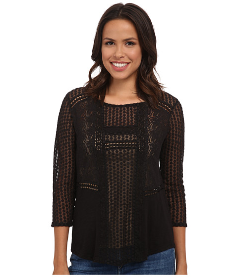 Lucky Brand - Lace Peasant Top (Lucky Black) Women's Clothing