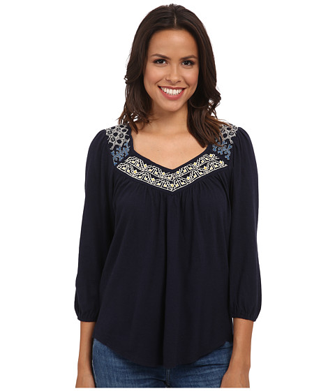 Lucky Brand - Embroidered Bib Top (American Navy) Women