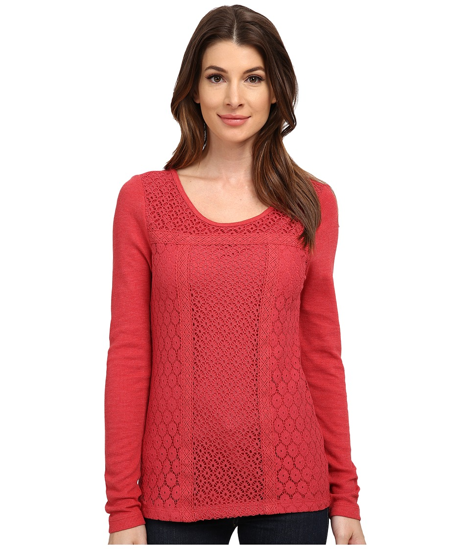 Lucky Brand - Lace Patched Thermal (Berry Red) Women's Long Sleeve Pullover