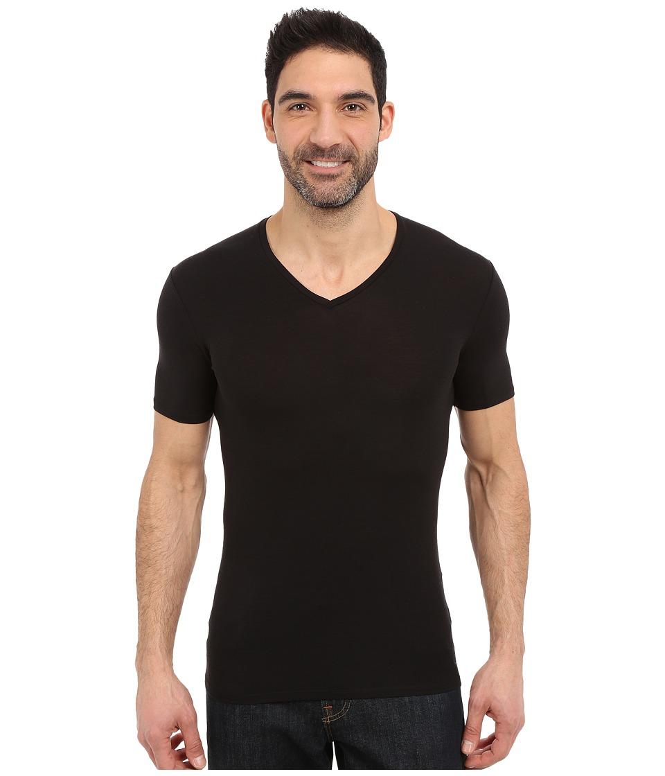 Icebreaker - Anatomica Short Sleeve V (Black/Monsoon) Men's Short Sleeve Pullover