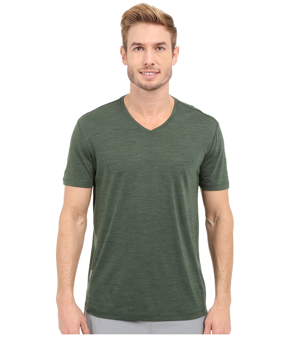 Icebreaker - Sphere Short Sleeve V-Neck (Conifer Heather) Men's Clothing