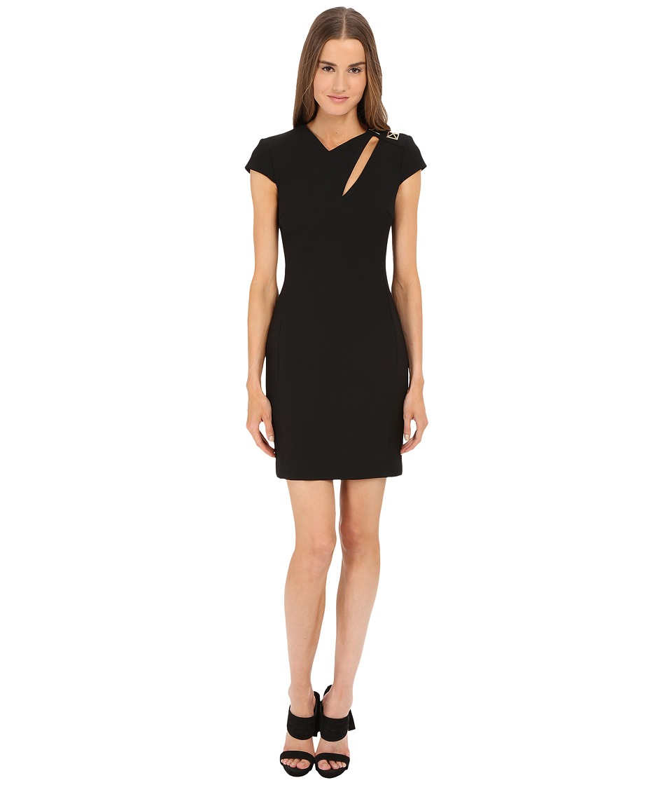 Versace Collection - Cap Sleeve Dress w/ Cutout (Black) Women