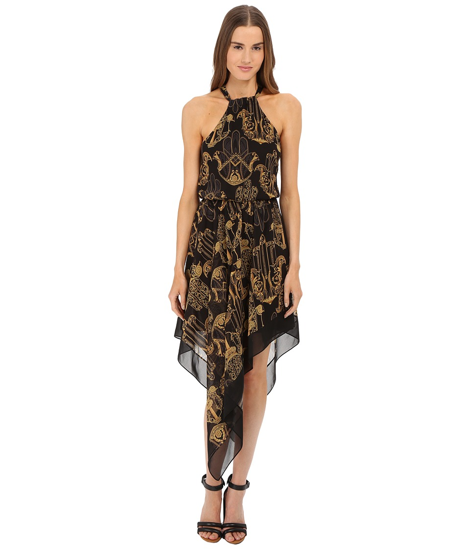 Versace Collection Black and Gold Patterned Dress with Crisscross Back (Black) Women