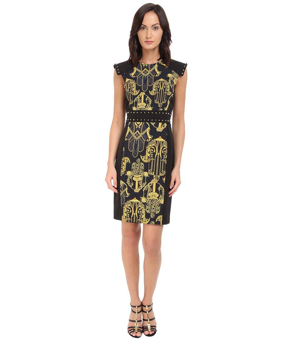 Versace Collection - Black and Gold Patterened Dress w/ Studded Sleeve Detail (Black) Women's Dress