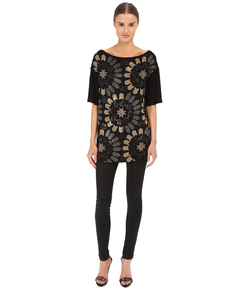 Versace Collection Jersey Dress w/ All Over Gold Embellishment (Black) Women