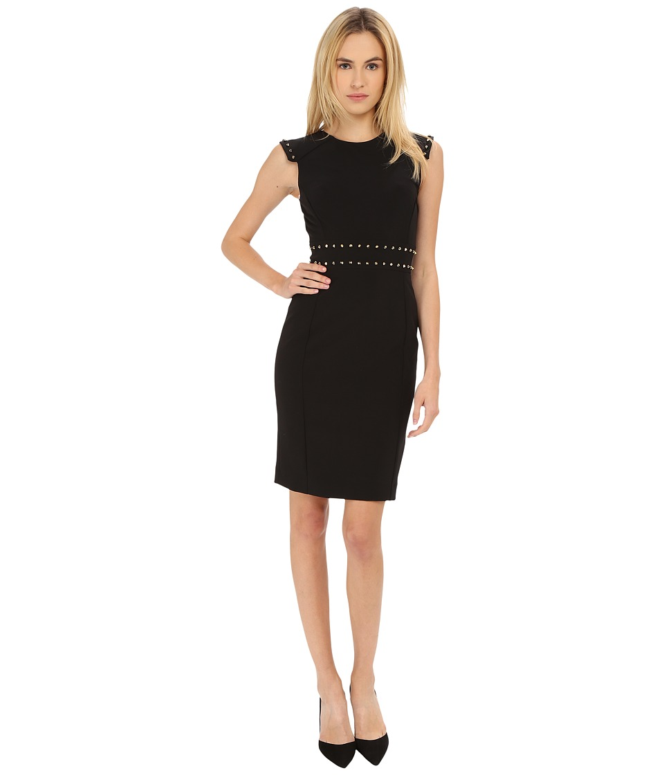 Versace Collection - Dress with Stud Waist Detail (Black) Women's Dress