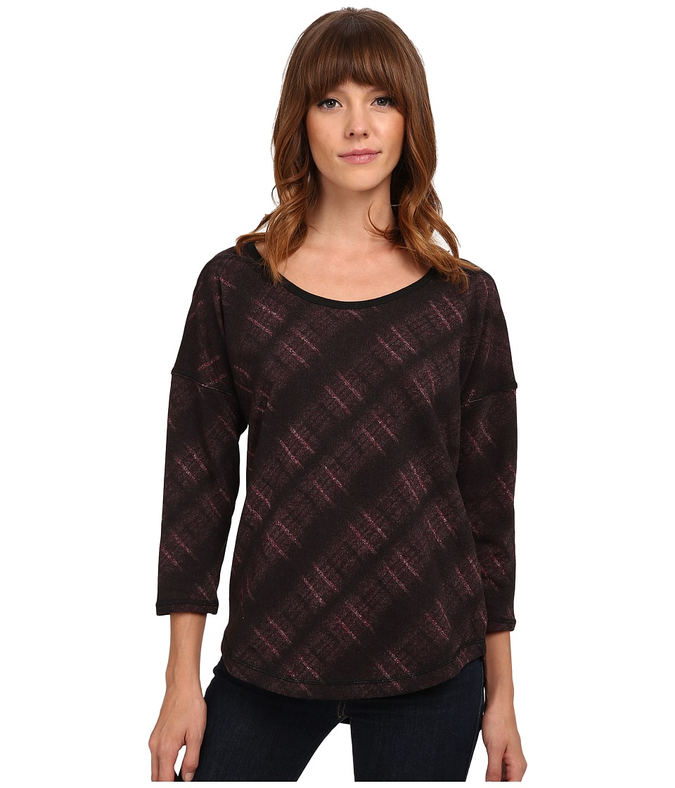UNIONBAY - Renton Plaid Taylor Knit Top (Cabernet) Women's Clothing
