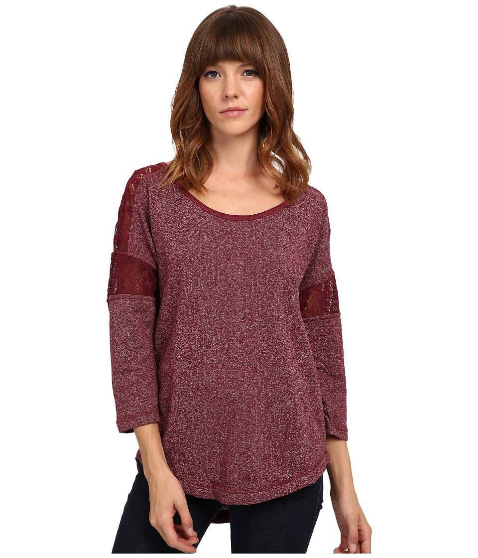UNIONBAY - Vintage French Terry Taylor Knit Top (Cabernet) Women's Clothing