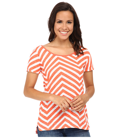UNIONBAY - Uptown Zigzag Chloe Top (Bright Coral) Women's Clothing