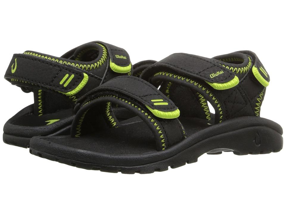 OluKai Kids - Pahu (Toddler/Little Kid/Big Kid) (Black/Bright Grass) Boys Shoes