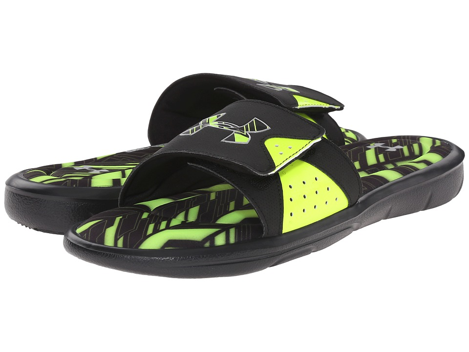 Under Armour - UA Ignite Banshee II SL (Black/High-Vis Yellow/Metallic Silver) Men's Slide Shoes