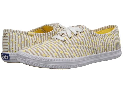 Keds - Champion Taylor Swift Seersucker (Yellow) Women's Slip on Shoes