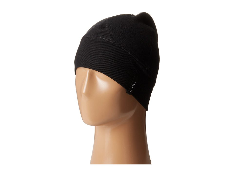 LAUREN by Ralph Lauren - Cotton Poly Fleece Beanie (Black) Beanies