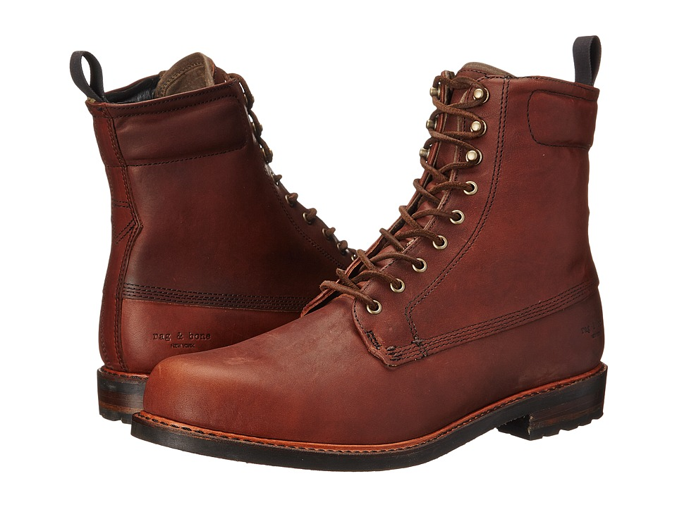 rag & bone - Officer Boot II (Dark Brown) Men's Lace-up Boots
