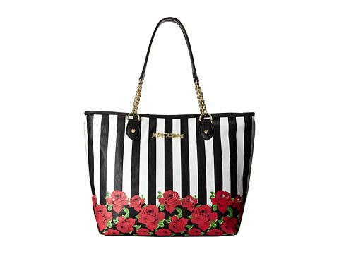 Betsey Johnson - Roses Stripes Tote (Black/White) Tote Handbags