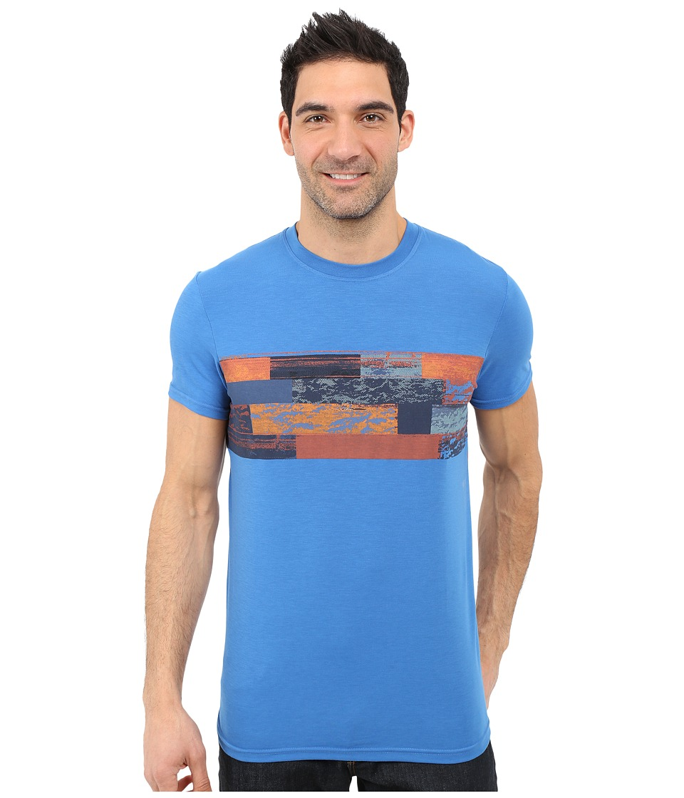 Prana Printed Ridge Tech Tee (Classic Blue) Men