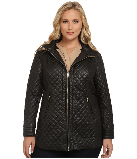 Via Spiga - Plus Size Hooded Quilt Coat (Black) Women