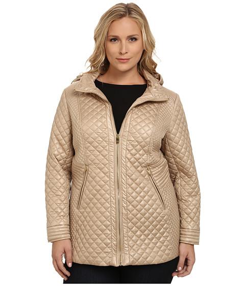 Via Spiga - Plus Size Hooded Quilt Coat (Champagne) Women