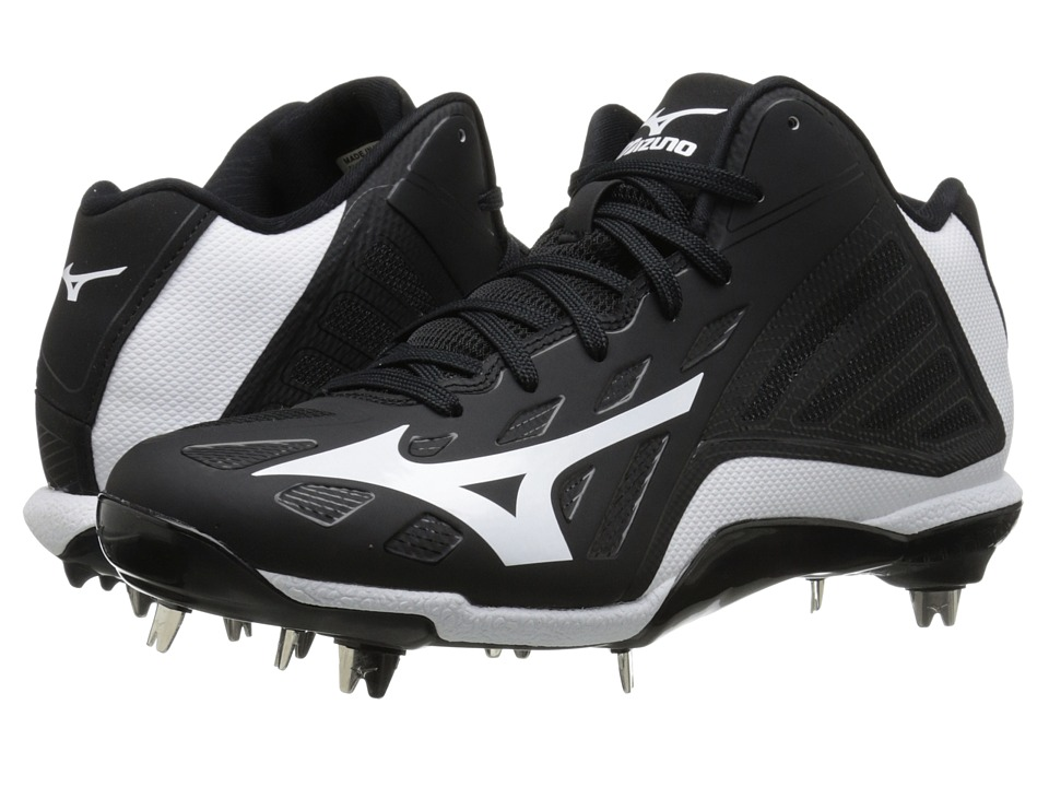 Mizuno - Heist IQ Mid (Black/White) Men's Cleated Shoes