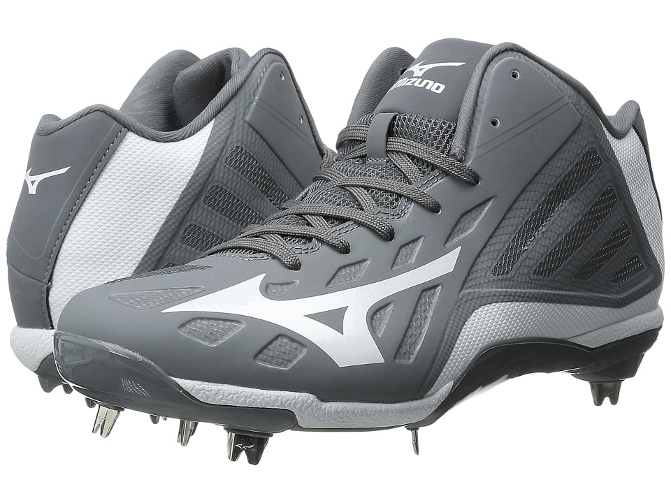 Mizuno - Heist IQ Mid (Grey/White) Men's Cleated Shoes