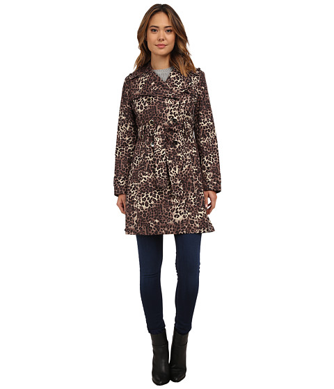 Via Spiga - Double Breasted Belted Trench Coat (Leopard) Women's Coat