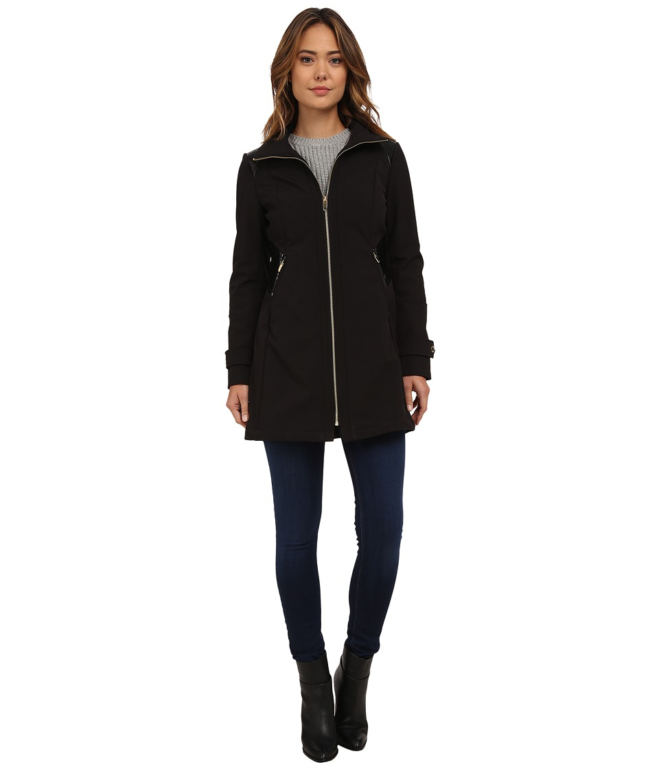 Via Spiga - Soft Shell Coat w/ PU Waist Detail (Black) Women