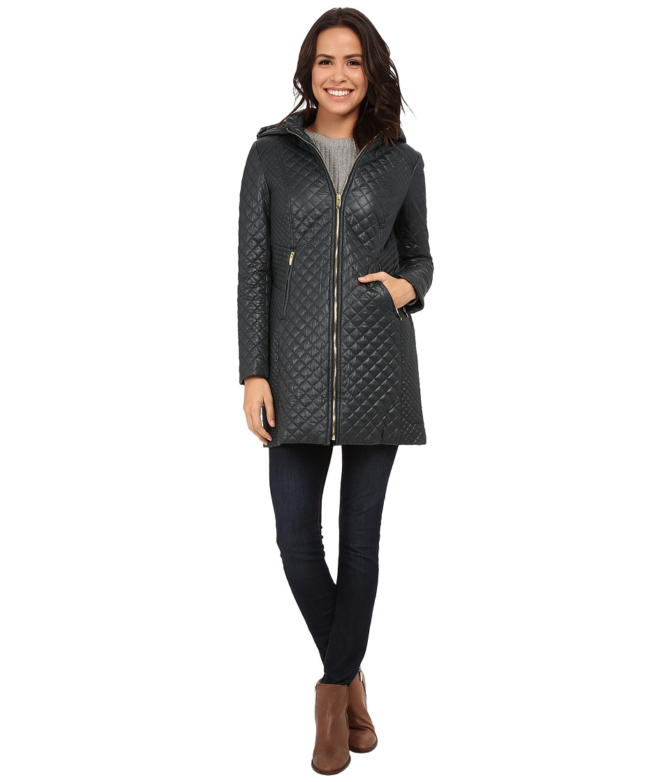 Via Spiga - Diamond Quilt w/ Zip (Bottle Green) Women's Coat