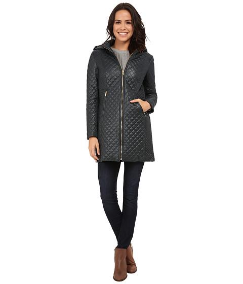 Via Spiga - Hooded Soft Shell Coat w/ Hidden Zipper and Side Tab Detail (Bottle Green) Women's Coat