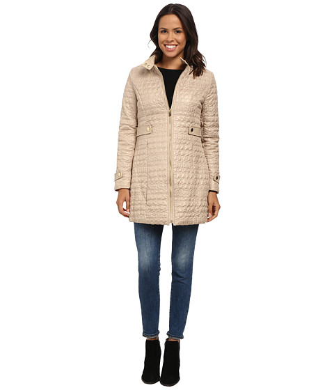 Via Spiga - Crocodile Print Stand Collar Quilt Coat w/ Side Tabs (Champagne) Women's Coat