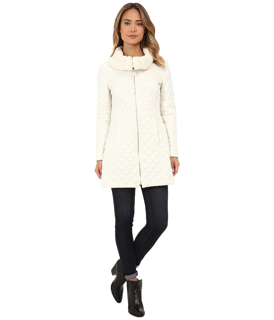 Via Spiga - Diamond Quilt Coat w/ Knit Collar (Ivory) Women's Coat