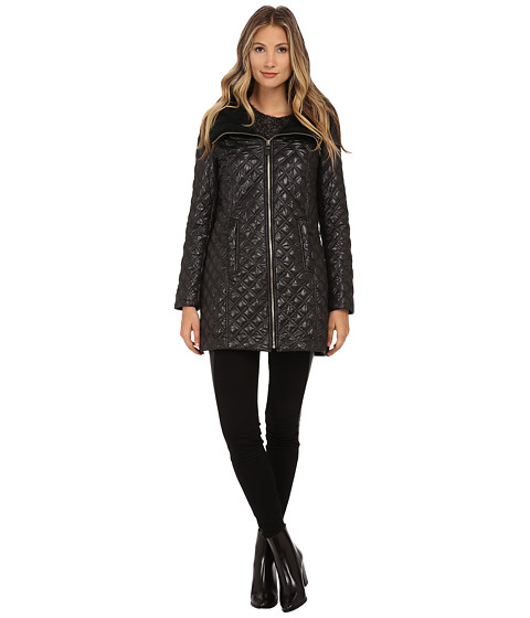 Via Spiga - Quilt Coat w/ Knit Collar and Front Gold Zip (Black) Women