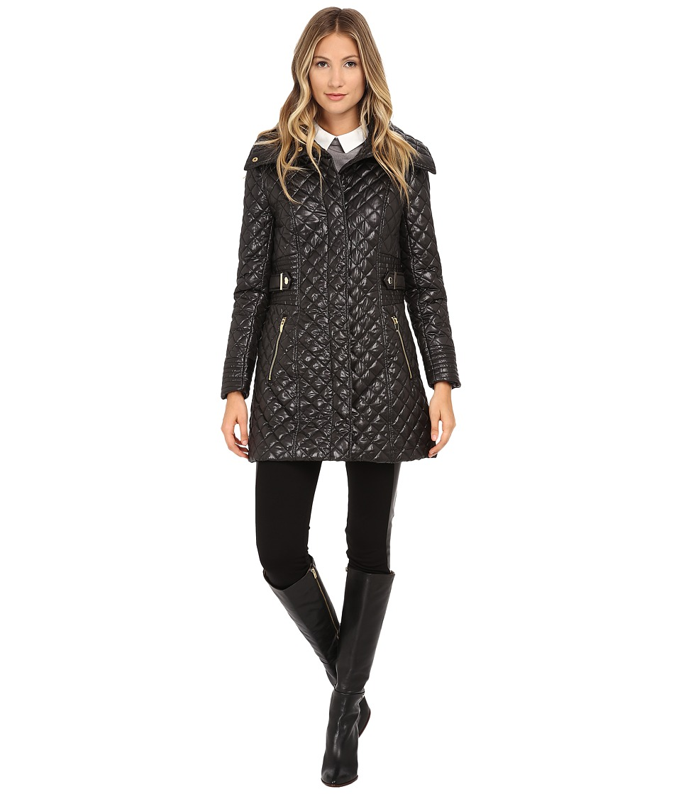 Via Spiga - Hidden Zip Front Quilt Coat w/ Side Tab Detail (Black) Women's Coat