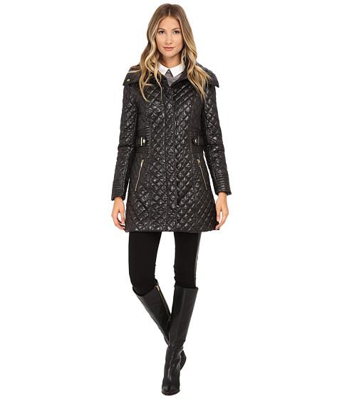 Via Spiga - Hidden Zip Front Quilt Coat w/ Side Tab Detail (Black) Women's Coat