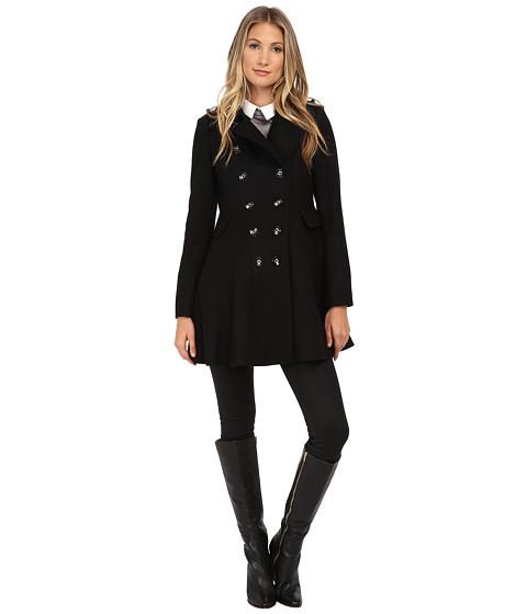Via Spiga - Wool Fit and Flare Skating Coat (Black) Women