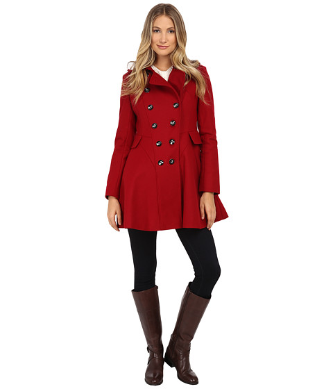 Via Spiga - Wool Fit and Flare Skating Coat (Red) Women's Coat