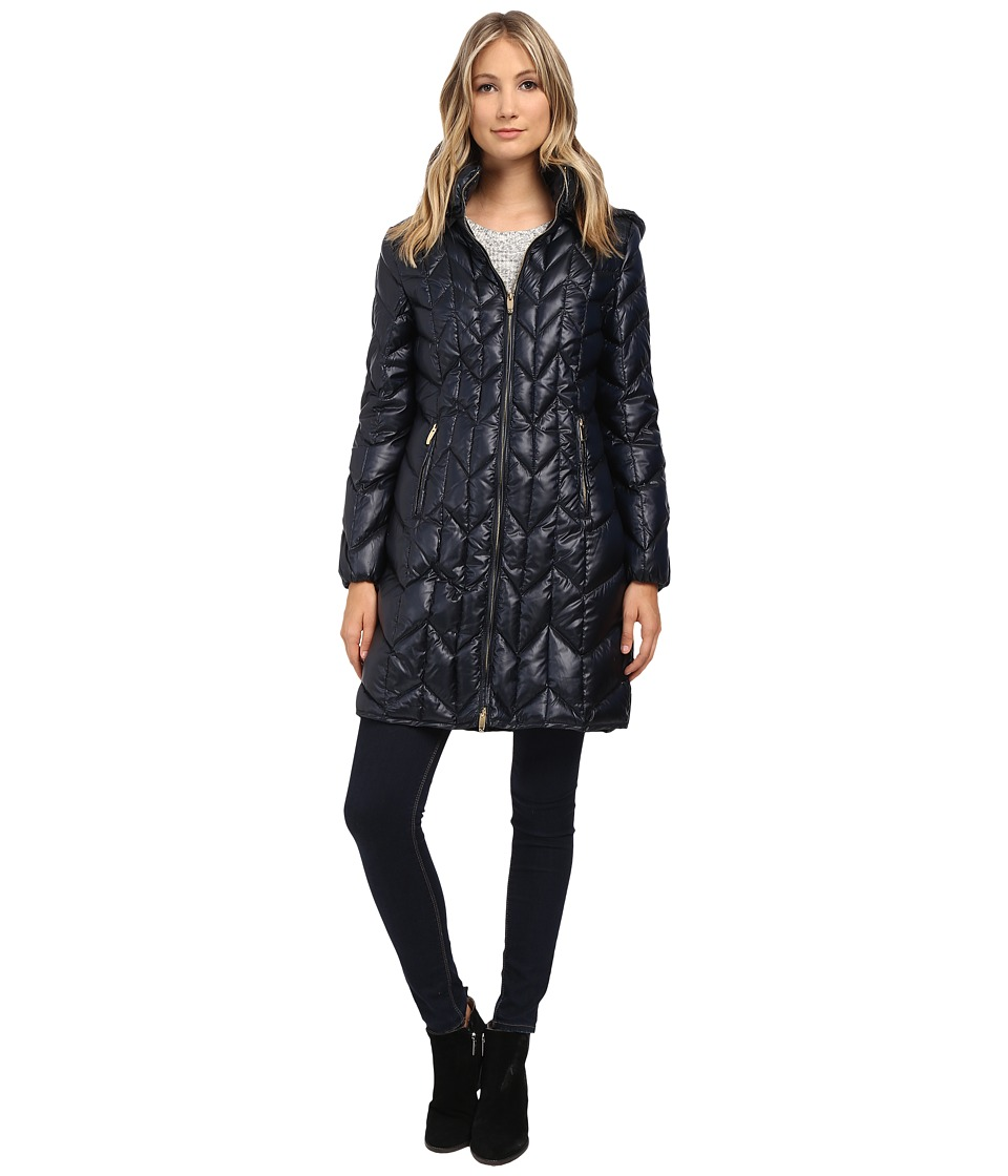 Via Spiga - Hooded Long Chevron Packable Coat (Navy) Women's Coat