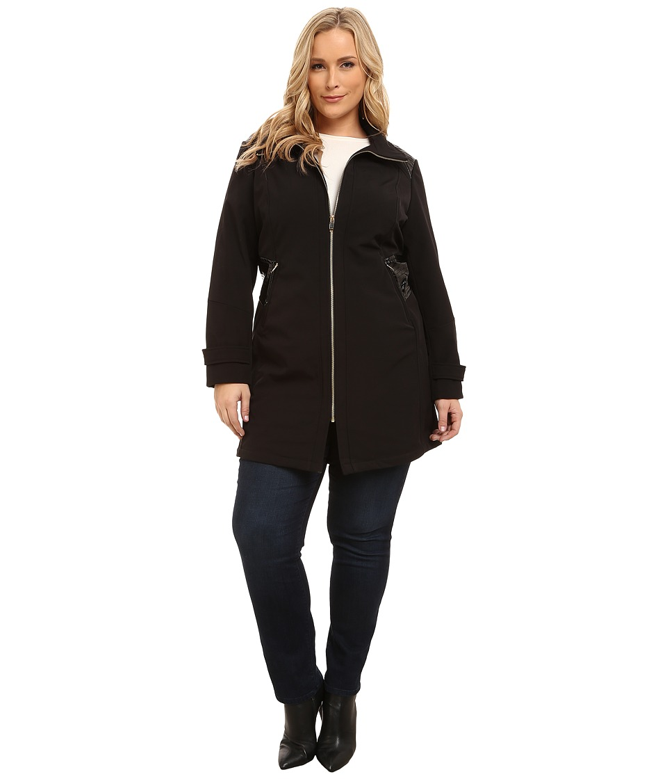 Via Spiga - Plus Size Wing Collar Soft Shell Coat w/ Novelty PU Sided Detail (Black) Women