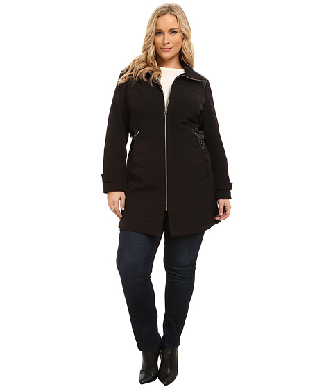 Via Spiga - Plus Size Wing Collar Soft Shell Coat w/ Novelty PU Sided Detail (Black) Women's Coat