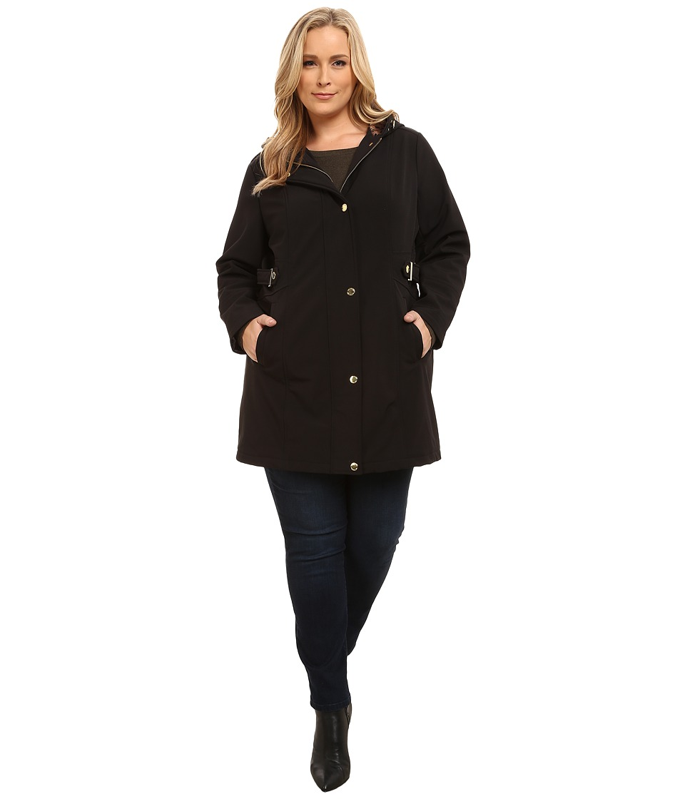 Via Spiga - Plus Size Soft Shell Coat w/ Leopart Backing (Black) Women