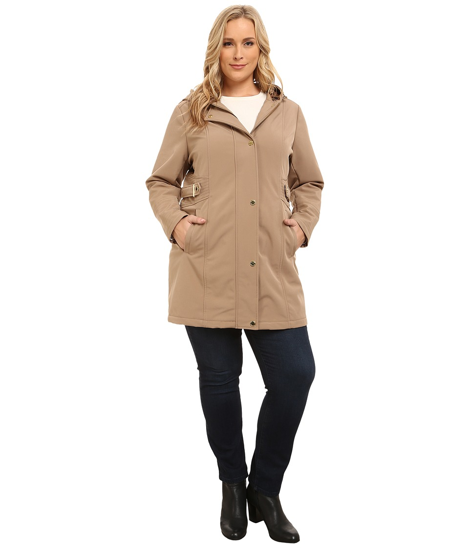Via Spiga - Plus Size Soft Shell Coat w/ Leopart Backing (Camel) Women's Coat