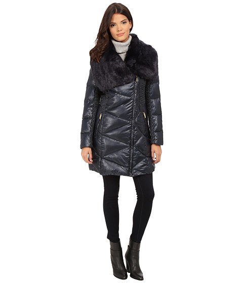 Via Spiga - Down Coat w/ Exaggerated Faux Fur Collar (Navy) Women's Coat