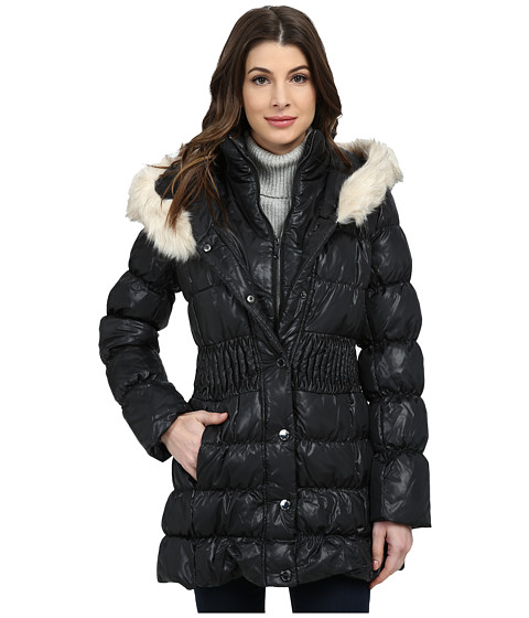 Via Spiga - Down Coat w/ Winter White Faux Fur Trim (Black) Women's Coat