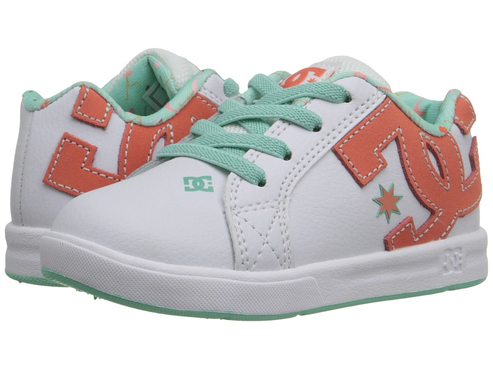 DC Kids - Court Graffik Elastic (Toddler) (White/Turquoise) Girls Shoes