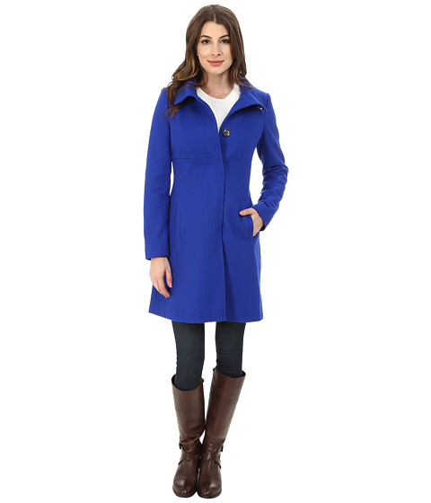 Via Spiga - Stand Collar Wool Coat w/ Buttons (Cobalt) Women's Coat
