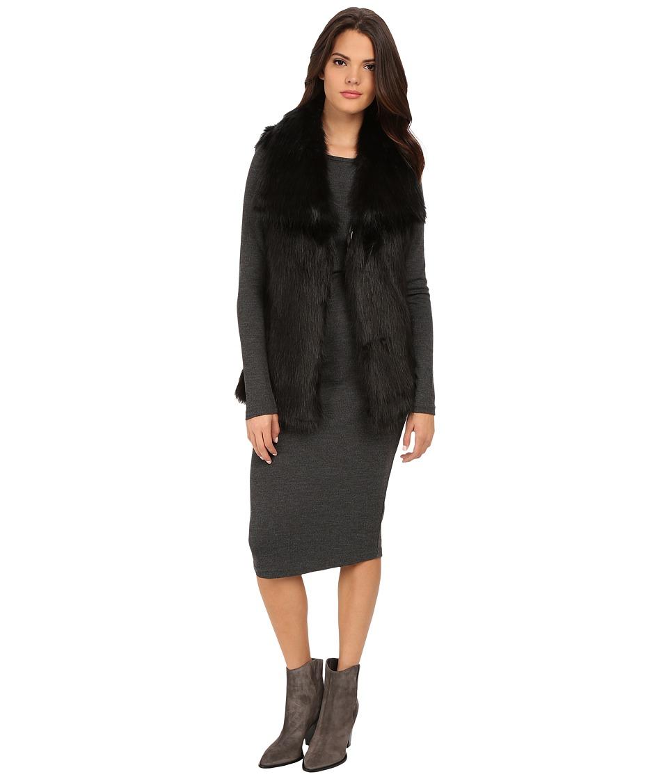 Via Spiga - Faux Fur Vest w/ Lapel (Black) Women's Vest