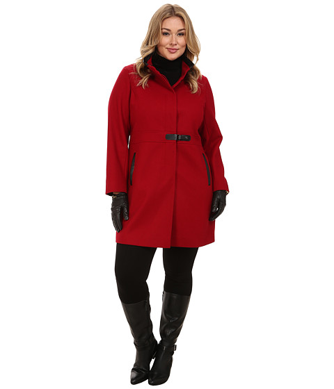 Via Spiga - Plus Size Stand Collar Wool Coat w/ PU Detail and Center Tab Closure (Via Red) Women's Coat